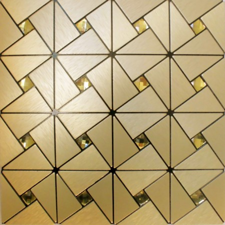 Peel and Stick Tile Pinwheel Patterns Aluminum Metal Wall Tile Glass Diamond Tiles Adhsive Mosaic MH-ASJ-003