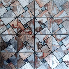Peel and Stick Tile Pinwheel Patterns Aluminum Metal Wall Tile Glass Diamond Tiles Adhsive Mosaic MH-ASJ-004