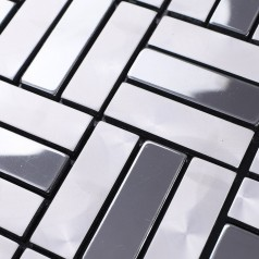 Metallic Mosaic Tile Aluminum Panel Wall Stickers Strip Metal Tiles Backsplash Silver Bathroom Floor