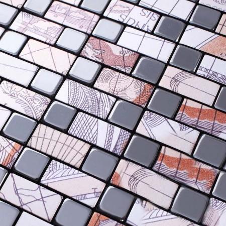 Metallic Mosaic Tile Sheets Metal Aluminum Interior Wall Paneling Kitchen Backsplash Surface Decor