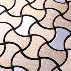 Metallic Mosaic Tile Aluminum Panel Wall Stickers Beige Silver Mix Metal Backsplash Tiles Bath Floor