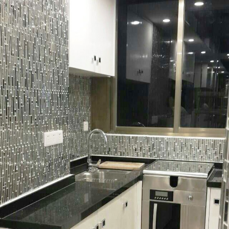 Metallic Backsplash Tile Diamond Stainless Steel Metal And Crystal Gl Mosaic Wall Decor Hc 119