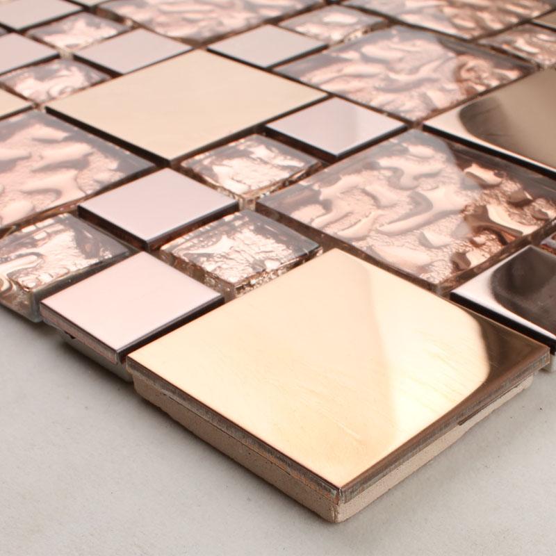 Metal Tile Backsplash Bathroom Copper Stainless Steel And Gl Mosaic Kitchen Wall Decor Hd 280