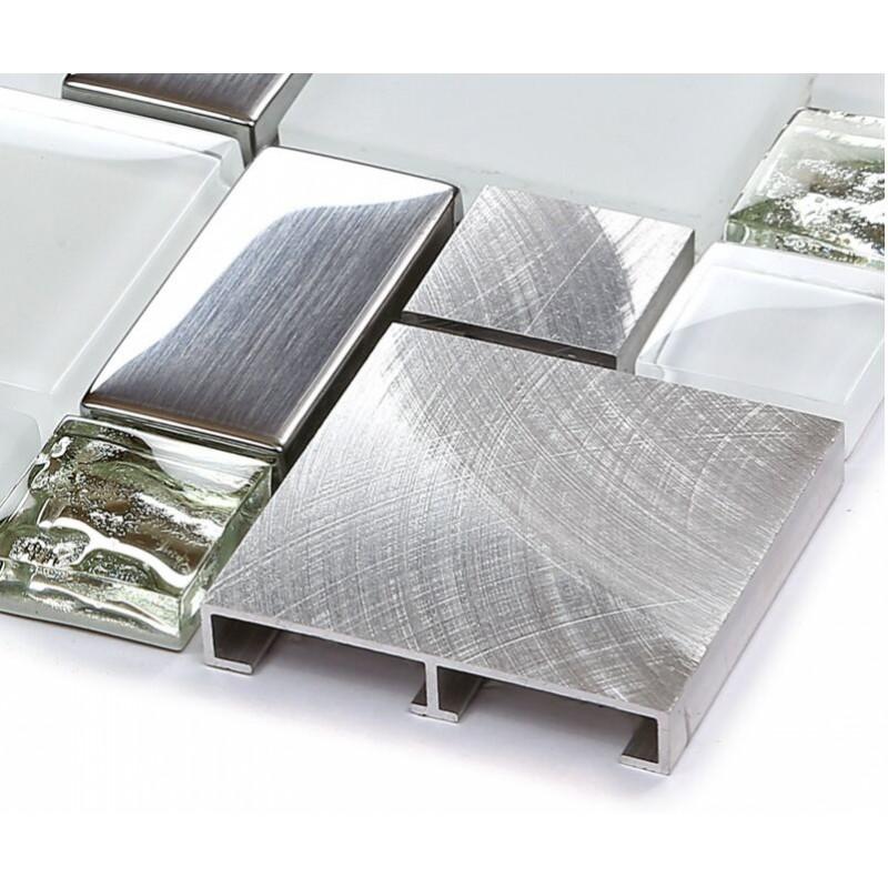 Backsplash Tile Brushed Aluminum Tiles Silver Metal and ...