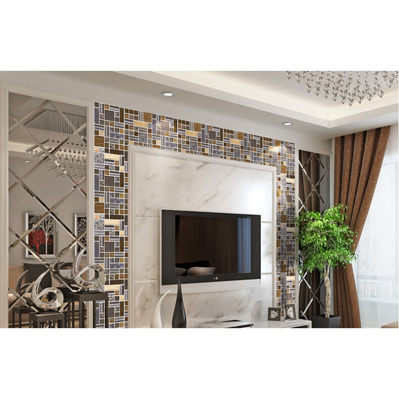 crystal glass mosaic kitchen tile copper aluminum tiles wall ...