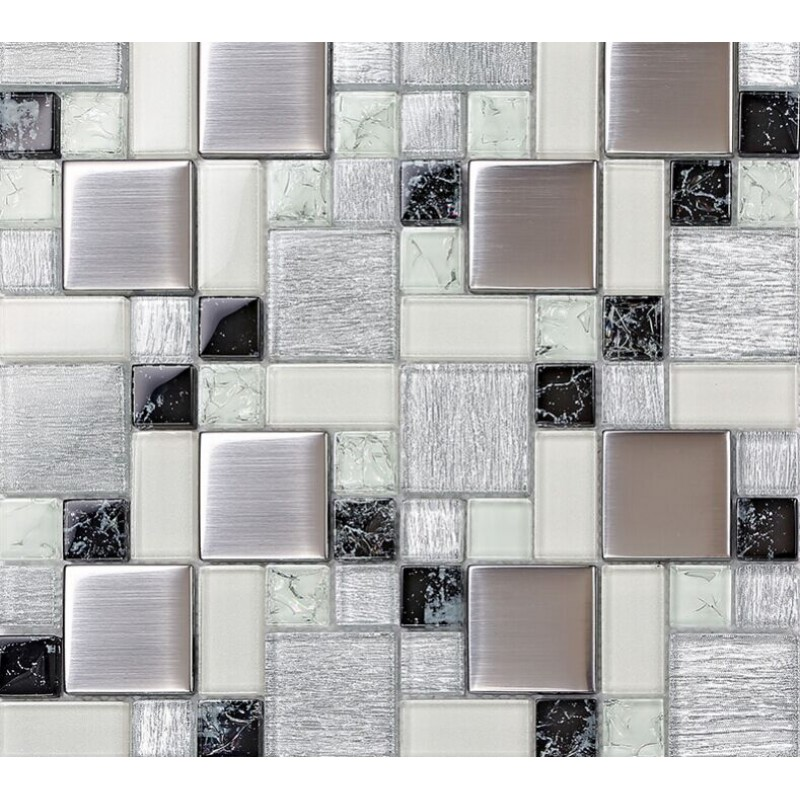 Metallic Backsplash Tile Brush 304 Stainless Steel Metal Crystal Glass Mosaic Wall Decor Ls53