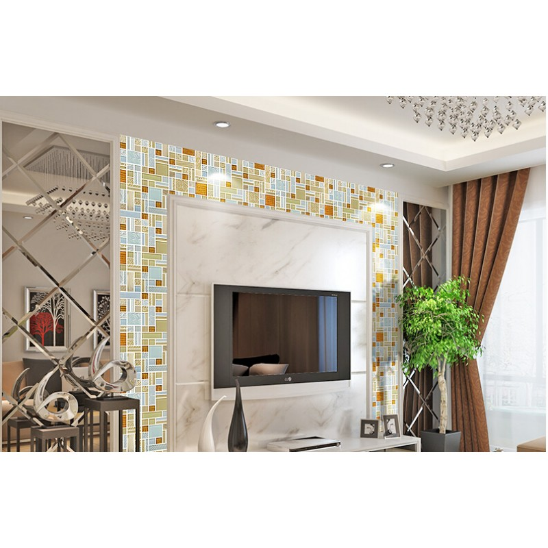 White Crystal Glass Mosaic Tile Sheets Gold Aluminum Accent Metal Kitchen Wall Backsplashes KLGTH06