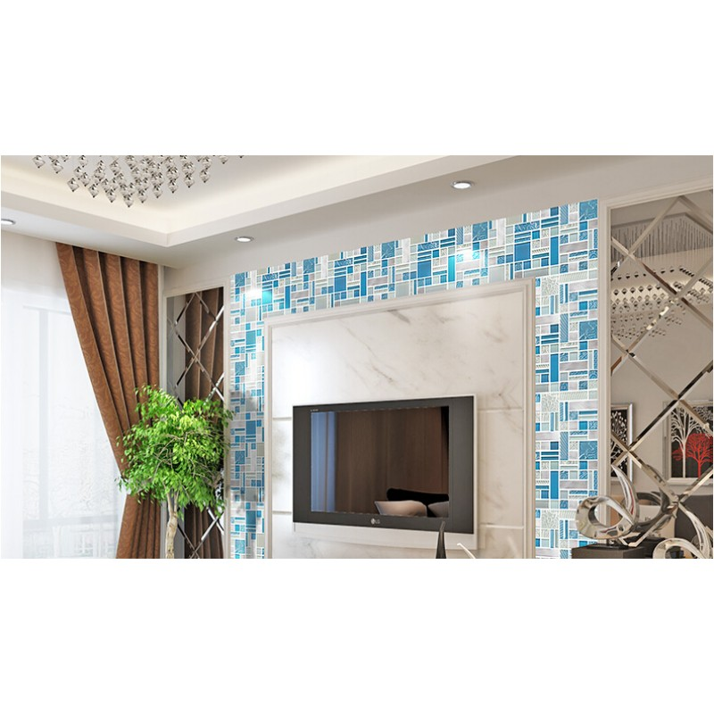 Blue Crystal Glass Mosaic Tile Sheets Silver Aluminum Accent Metal Kitchen Wall Backsplashes KLGTH10