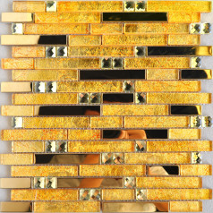 Gold Glass and Stainless Steel Tile Backsplash Clear Crystal Diamond Interlocking Mosaic Wall Tiles