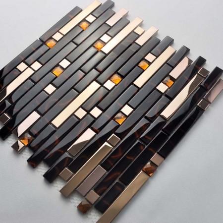Metal Backsplash Tiles Gold Stainless Steel Sheets Metal & Crystal Glass Blend Diamond Tile 2-32