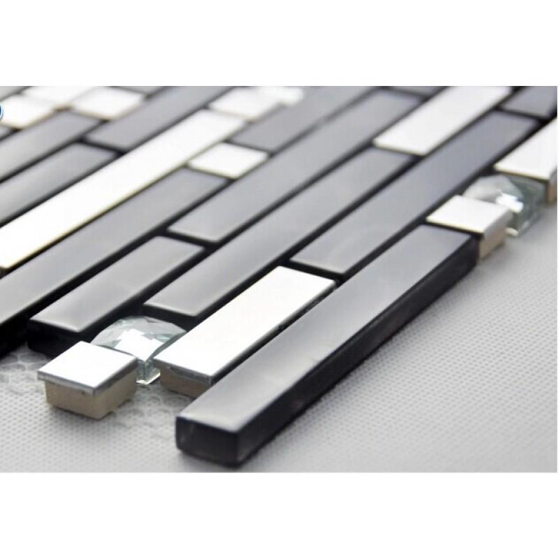 Metallic Backsplash Tiles Silver Stainless Steel Metal Glass Mosaics