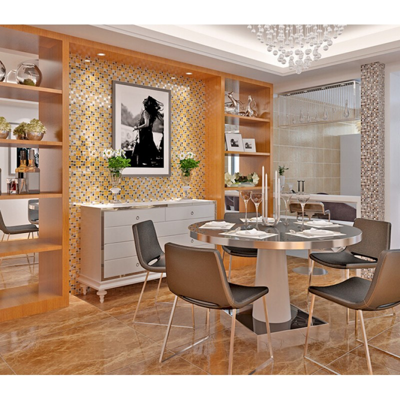 Yellow Tiles For Kitchen: Yellow Crystal Glass Tile Wall Backsplashes Tile TV