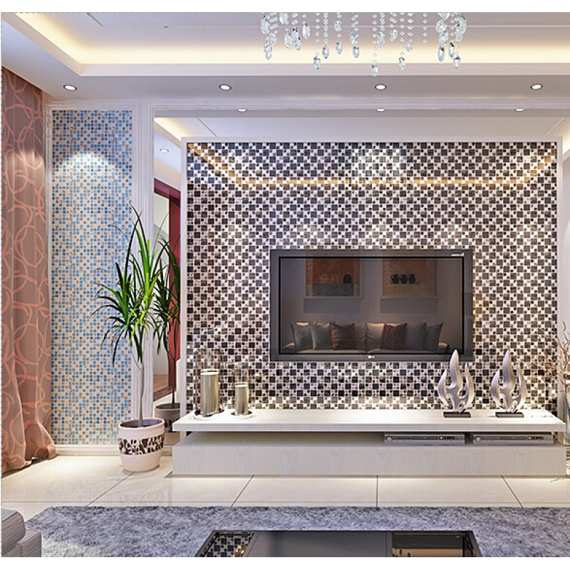 silver 304 stainless steel glass tile crackle tile TV