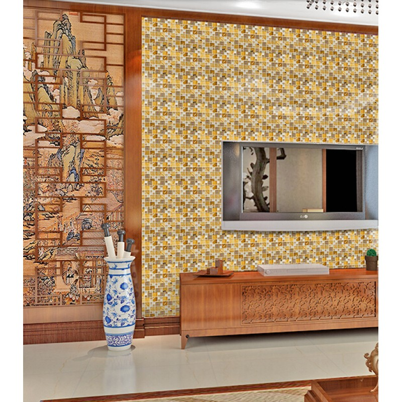 ... Gold Stainless Steel Metal Kitchen Backsplash Tiles Crystal Glass  Mosaic Tile Bathroom Wall Backsplashes KLGTM68