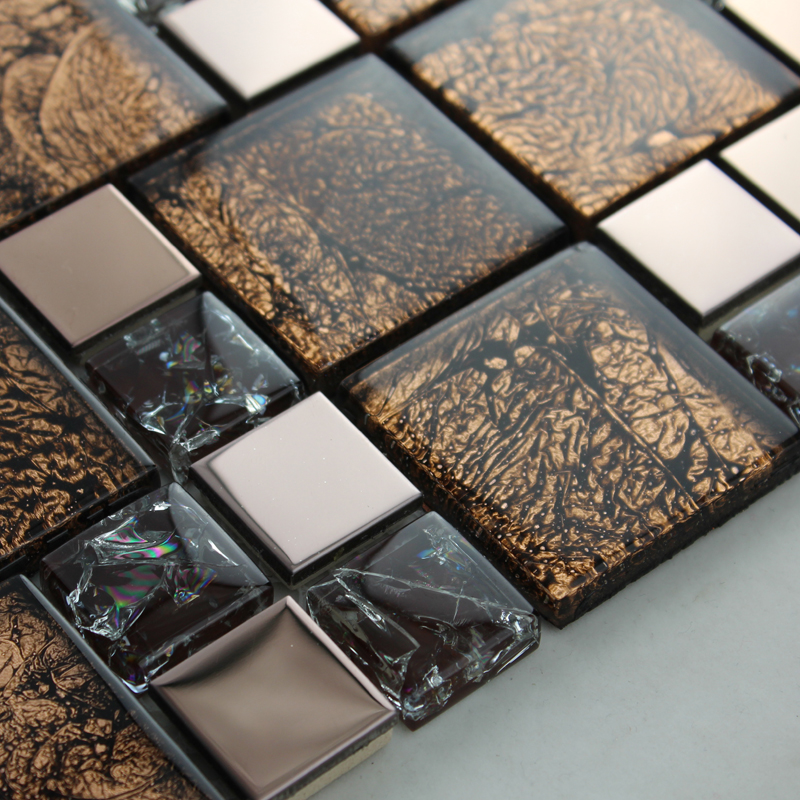 Rose Gold Stainless Steel Metal Mosaics Crackle Glass Tile