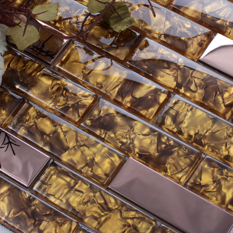 Wholesale Metallic Backsplash Tiles Silver 304 Stainless Steel Sheet Metal And Crystal Glass