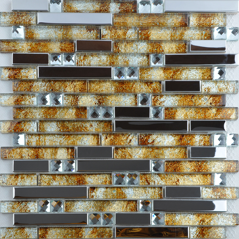 Silver Metal Diamond Glass Mosaic Stainless Steel