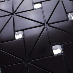Peel and Stick Backsplash Diamond Tiles Black Aluminum Sticker Pinwheel Glass Mosaic Pattern PSA4061