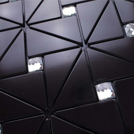 Peel and Stick Backsplash Tile, Black Aluminum Sticker Mixed Rhinestone in Pinwheel Patterns