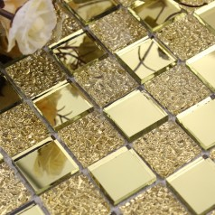 Mirror Tile Backsplash Gold Crystal Glass Mosaic Wall Tiles Shower Design Bathroom Mirrored Tile