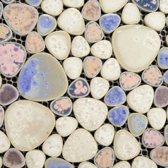 Heart-shaped Mosaic Art Collection Mixed Porcelain Pebble Tile Sheets for Fireplace Wall Border Tile