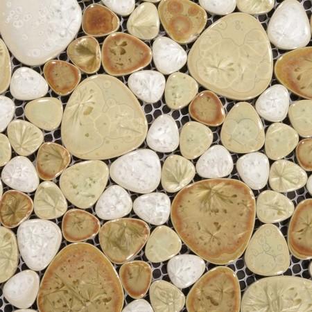 Heart-shaped Mosaic Art Collection Mixed Porcelain Pebble Tile Sheets Bathroom Mirror Wall Tiles