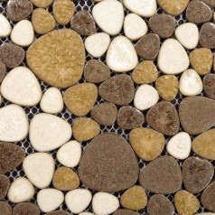 Collection Mixed Heart-shaped Mosaic Art Porcelain Pebble Tile Sheets for Fireplace Wall Border Tile