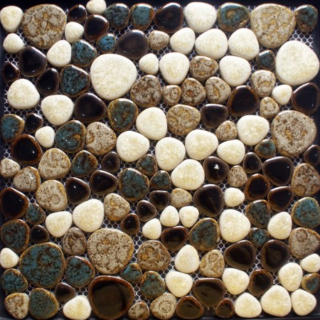 Heart-shaped Porcelain Pebble Tile Sheets Mosaic Art Mixed Bathroom Shower Wall Stickers ADT126