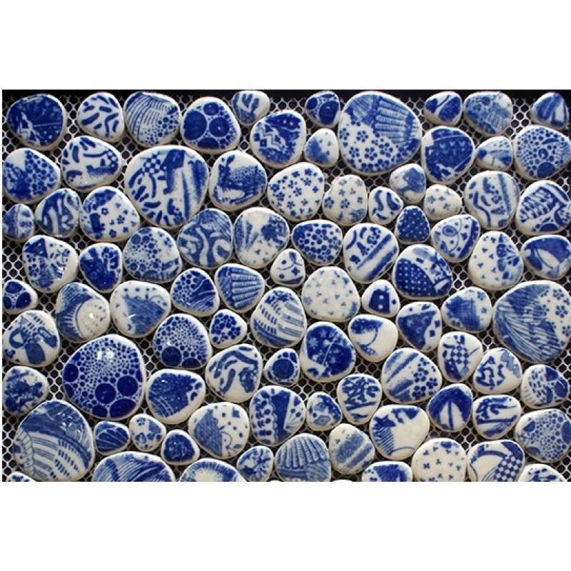Heart Shaped Porcelain Pebble Tile Sheets Mosaic Art Mixed Bathroom Shower  Wall Stickers F121 ...