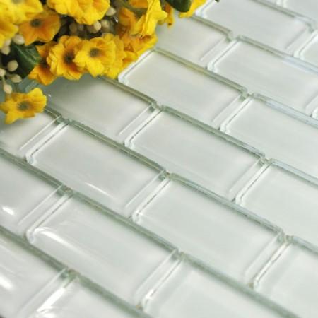 Mosaic Tile Crystal Glass Backsplash Washroom Design Bathroom Wall Floor Tiles White Kitchen