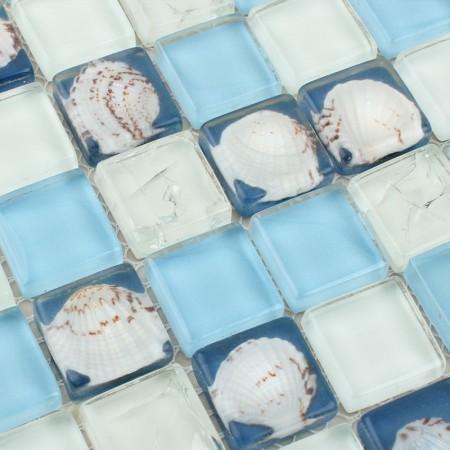 Mosaic Tile Crystal Glass Shell Tile Backsplash Crackle Design Bathroom Tiles for Wall Backsplash