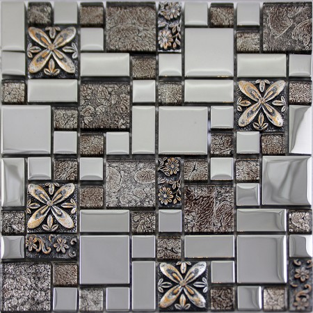 Glass Mosaic Tiles Blacksplash Crystal Mosaic Tile Bathroom Plated Wall Porcelain Stickers GSB03