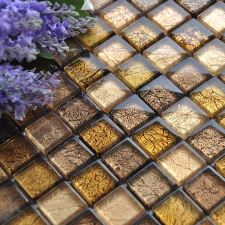 Glass Mosaic Tiles Gold Crystal Backsplash Tile Bathroom Wall Tiles Floor Stickers CB033
