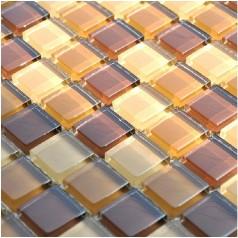 Glass Mosaic Tiles Brown Crystal Backsplash Tile Bathroom Wall Tiles Stickers FKS16