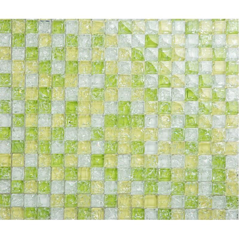 Green Crackle Glass Tiles Crystal Tile Wall Backsplashes Bathroom Kitchen  Backsplash Glossy Glass Mosaic Easy Clean ...