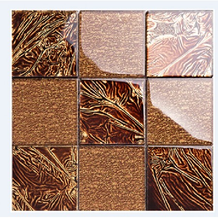 big chip crystal glass tiles TV background backsplashes tile brick mosaic deco brown tiles KLGT008
