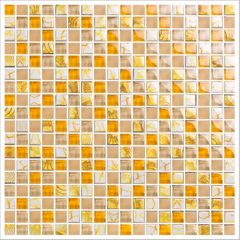 Yellow Glass Mosaic Tile Forsted Glass Hand Painted Art Design Wall Tile Hall Backsplashes Decor Washroom