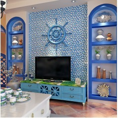 sea blue crystal glass tile crackle wall tile backsplshes bathroom resin with conch bathroom shower tiles designs KLGT18