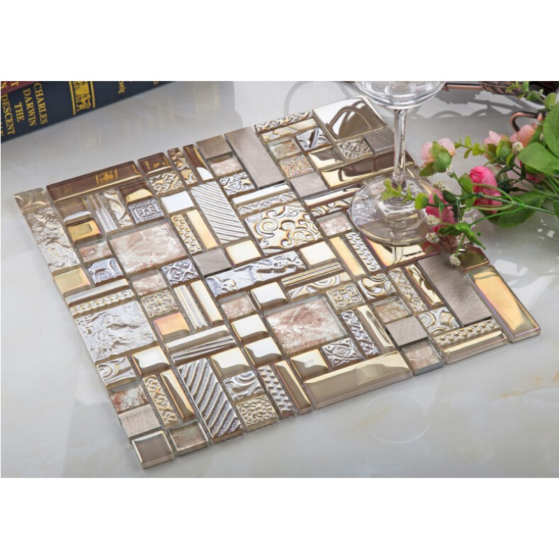 crystal glass mosaic tile backsplash metal tiles wall bathroom aluminum tile decor klgt408