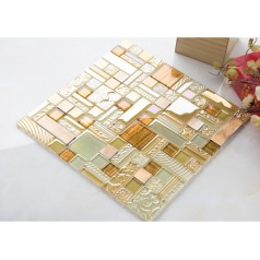 crystal glass mosaic kitchen tile copper aluminum tiles hand painted glass metal wall backsplash bathroom tile decor KLGT409