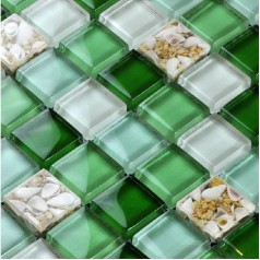 Glass Mosaic Tiles Green Crystal Backsplash Tile Bathroom Wall Glass Conch Tiles Floor Sticker LFBK04