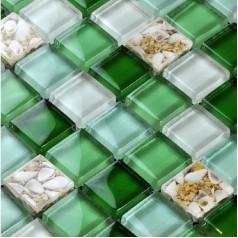 Glass Mosaic Tiles Green Crystal Backsplash Tile Bathroom Wall Glass Conch Tiles Floor Sticker LFBK04