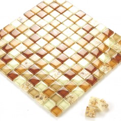 Glass Mosaic Tiles Crystal Resin with Conch Kitchen Backsplash Tiles Bathroom Wall Tiles Yellow Tile S101