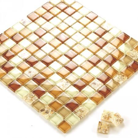 Glass Mosaic Tiles Crystal Resin with Conch Kitchen Backsplash Tiles Bathroom Wall Tiles Yellow Tile S101