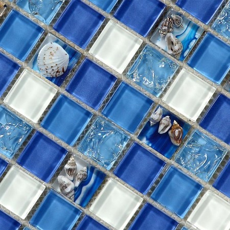 Glass Mosaic Tiles Blue Crystal Resin with Conch Kitchen Backsplash Tiles Bathroom Wall Tiles S102