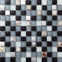 silver metal coating glass mosaic tile glass resin with conch tile bathroom wall decor Kitchen  backsplash SBLT123