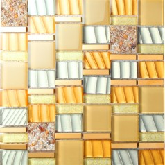 crystal glass mosaic tile resin with conch tiles gold stainless steel tiles kitchen backsplash SBLT205