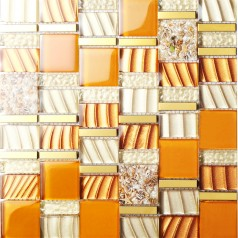 yellow crystal glass mosaic tile resin with conch tiles stainless steel baksplash gold metal tile SBLT207