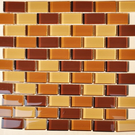 Glass Mosaic Tiles Orange Crystal Backsplash Subway Tile Bathroom Wall Tiles Stickers SSZ9
