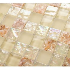 Glass Mosaic Tiles melted Shell Crystal Backsplash Tile Bathroom Wall Tiles Iridescent Tile YF-MTL04